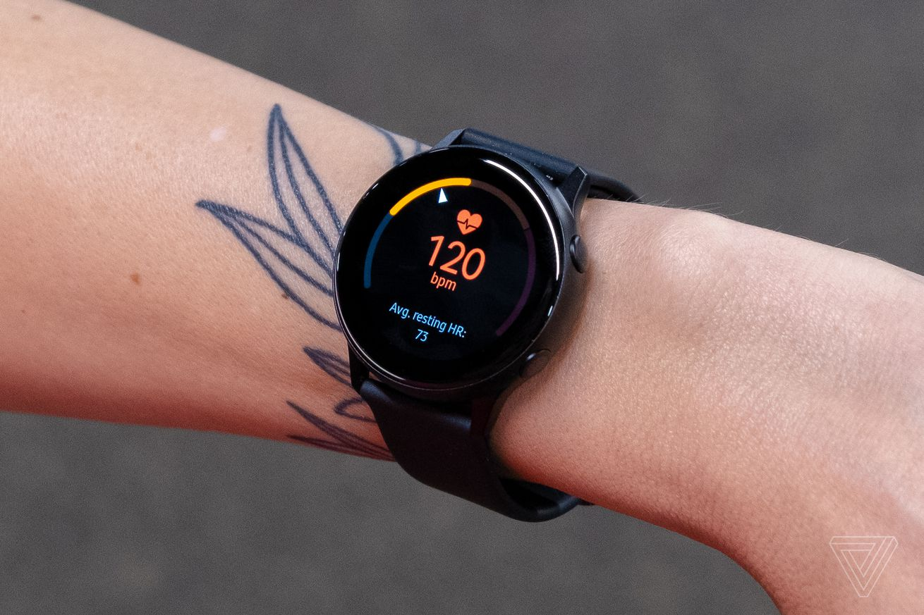 <em>The original Galaxy Watch Active (pictured), only had an optical heart rate tracker.</em>
