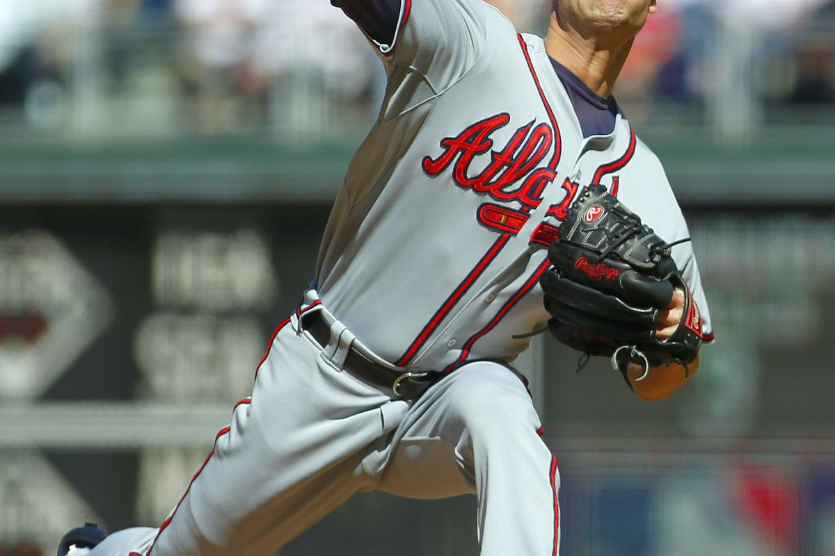 PHILADELPHIA, PA - SEPTEMBER 23: Tim Hudson #15 of the Atlanta Braves delivers a pitch during the second inning of a MLB baseball game on September 23, 2012 at Citizens Bank Park in Philadelphia, Pennsylvania. (Photo by Rich Schultz/Getty Images)