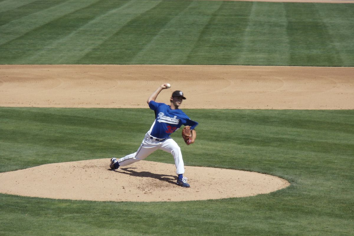 Matt Magill pitching for the Quakes last year