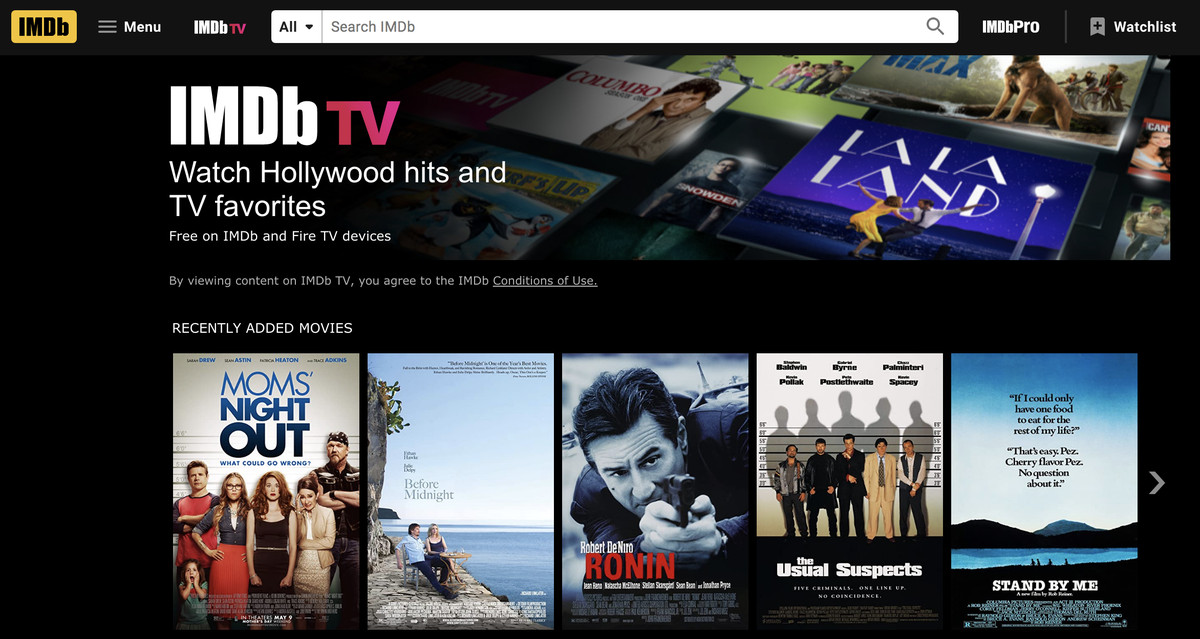 A screenshot of the IMDbTV platform