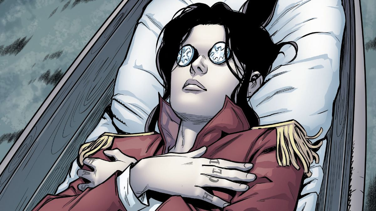 Kate Pryde's body, shrouded in a mutant pirate flag, with coins over her eyes, ready for her funeral in Marauders #11, Marvel Comics (2020).