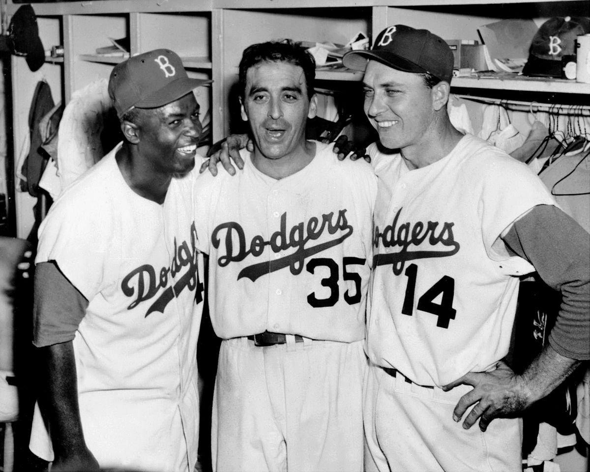 Brooklyn Dodgers' Jackie Robinson, Sal Maglie and Gil Hodges