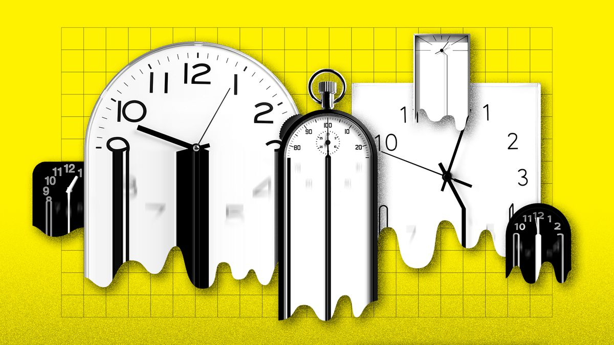 Several different clocks melt and warp into unreadable blobs.