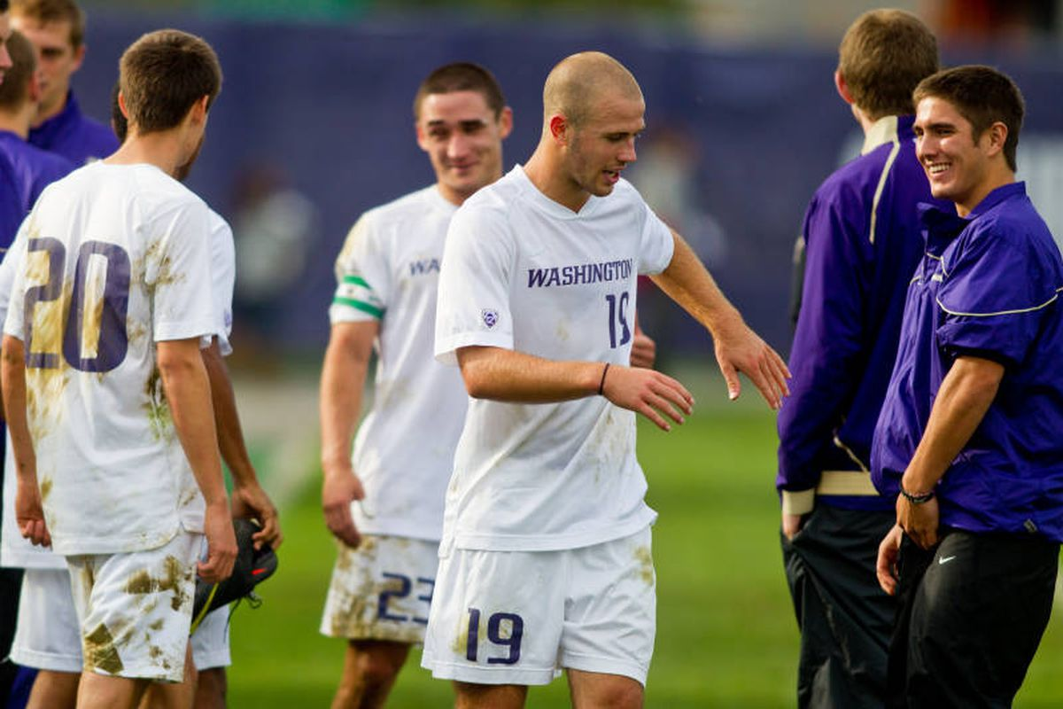 Michael Harris (center) has helped put Washington on the map this season with his flip throw ins.