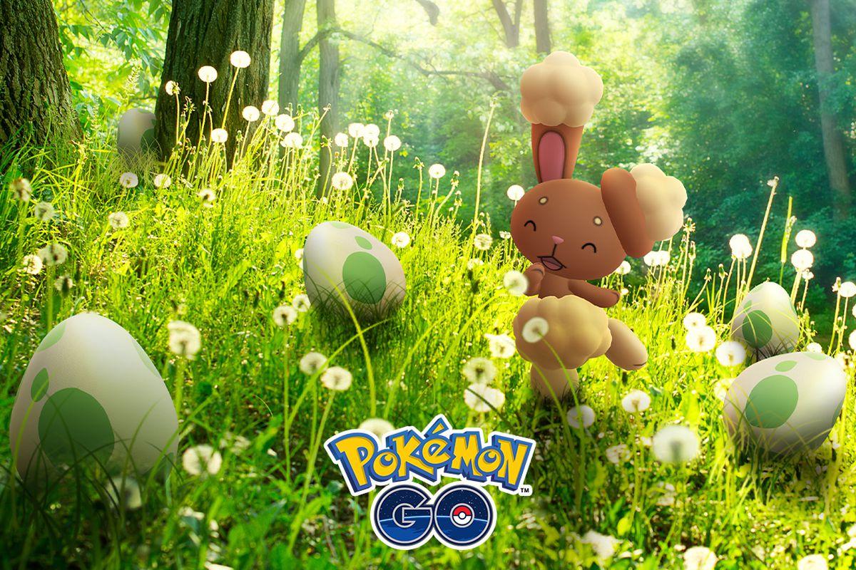 Buneary poses with Pokémon Go eggs