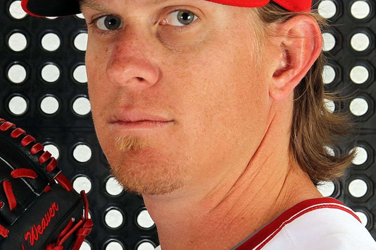 TEMPE, AZ - FEBRUARY 29:  Jered Weaver #36 of the Los Angeles Angels poses during spring training photo day on February 29, 2012 at Tempe Diablo Stadium in Tempe, Arizona.  (Photo by Jamie Squire/Getty Images)