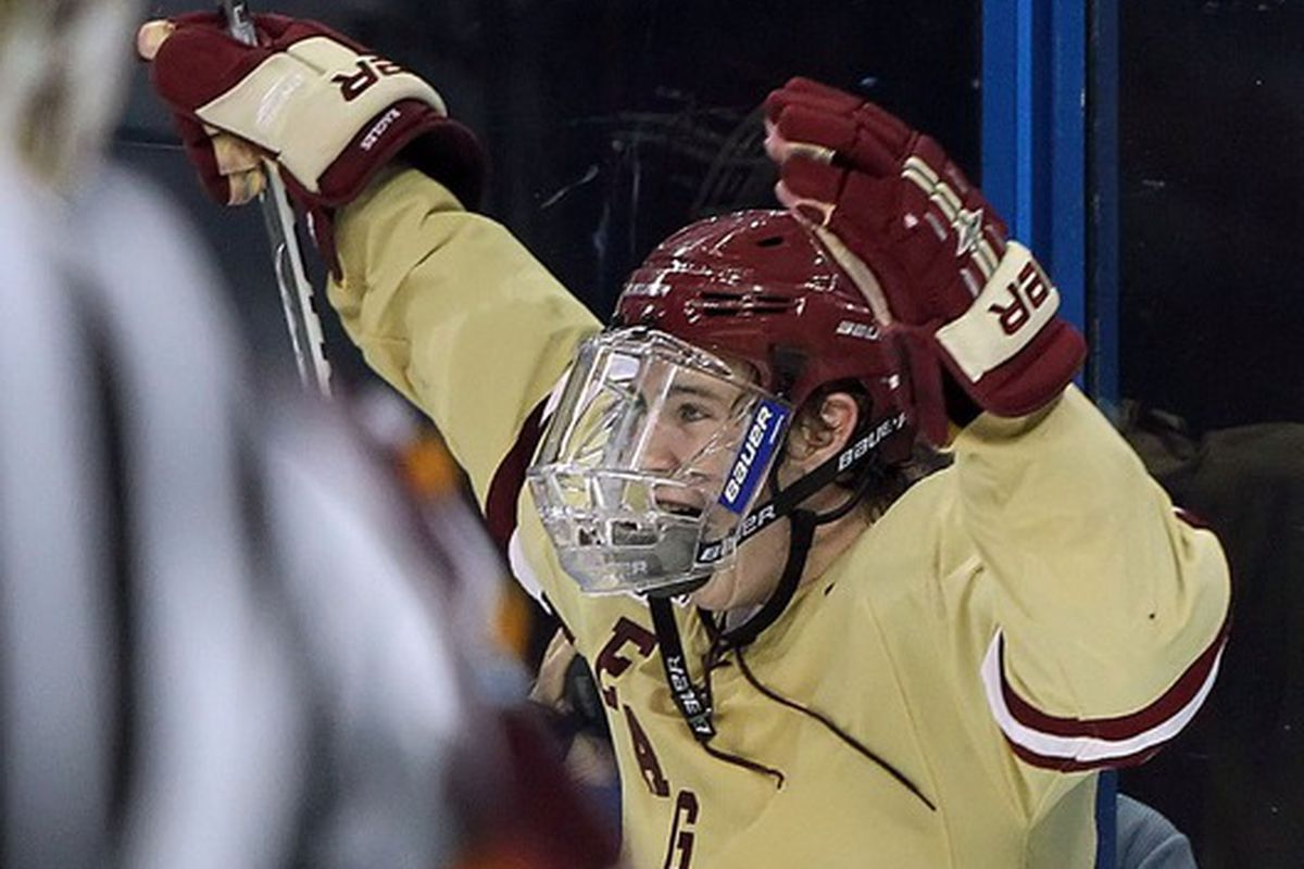 Kevin Hayes scored the game-winning goal for Boston College in a 2-1 victory over UMass on Thursday night.