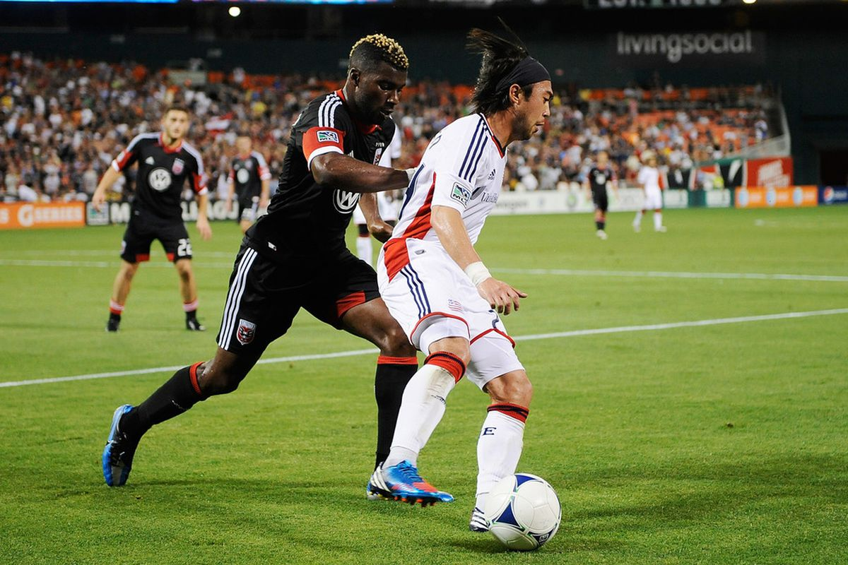 WASHINGTON, DC - MAY 26:  Lee Nguyen #24 of the New England Revolution battles for the ball against Brandon McDonald #4 of D.C. United during a game at RFK Stadium on May 26, 2012 in Washington, DC.  (Photo by Patrick McDermott/Getty Images)