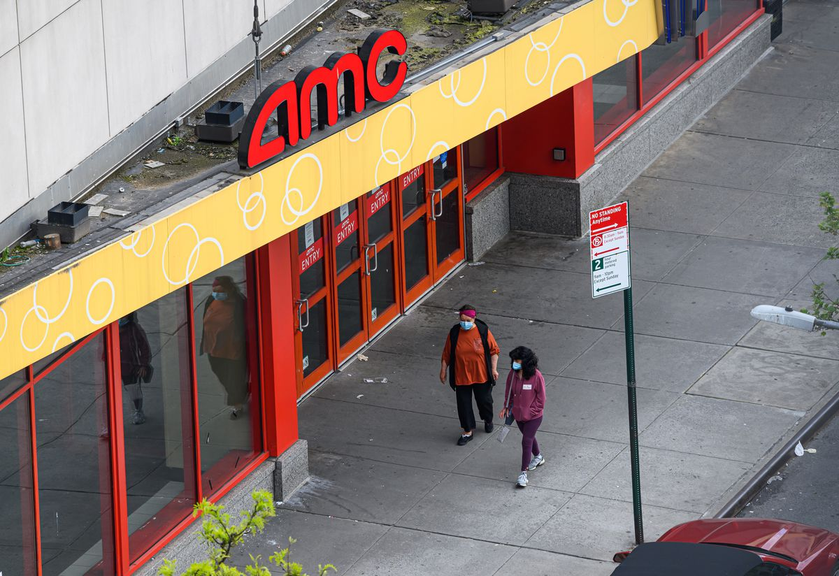 A view outside AMC Kips Bay 15 movie theater during the coronavirus pandemic on May 14, 2020 in New York City