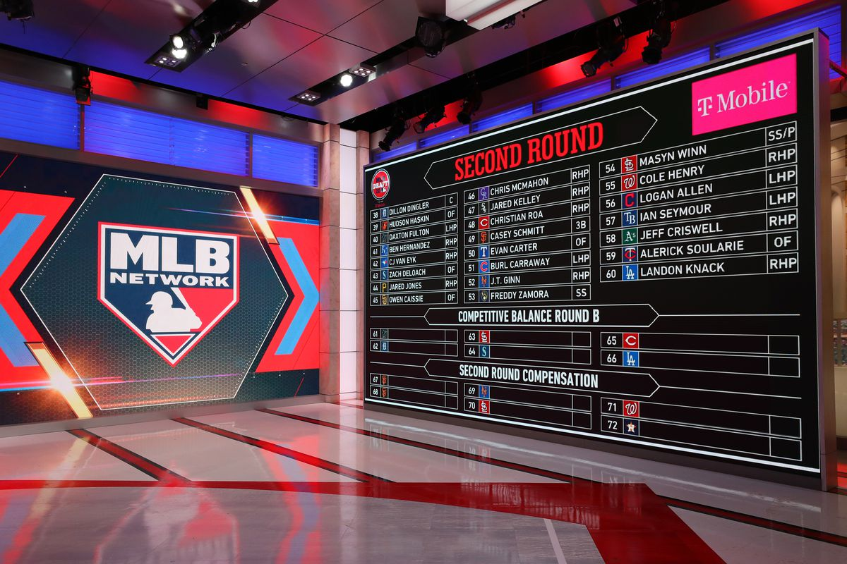 A general view of the draft board after the completion of the second round during the 2020 Major League Baseball Draft at MLB Network on Thursday, June 11, 2020 in Secaucus, New Jersey.