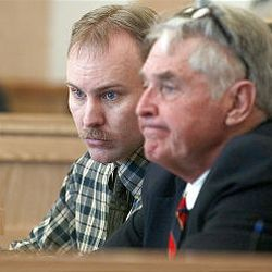 Cody Lynn Nielsen, left, and attorney A.W. Lauritzen listen to testimony during first day of trial in Logan. Nielsen is accused of killing Trisha Ann Autry in June 2000.