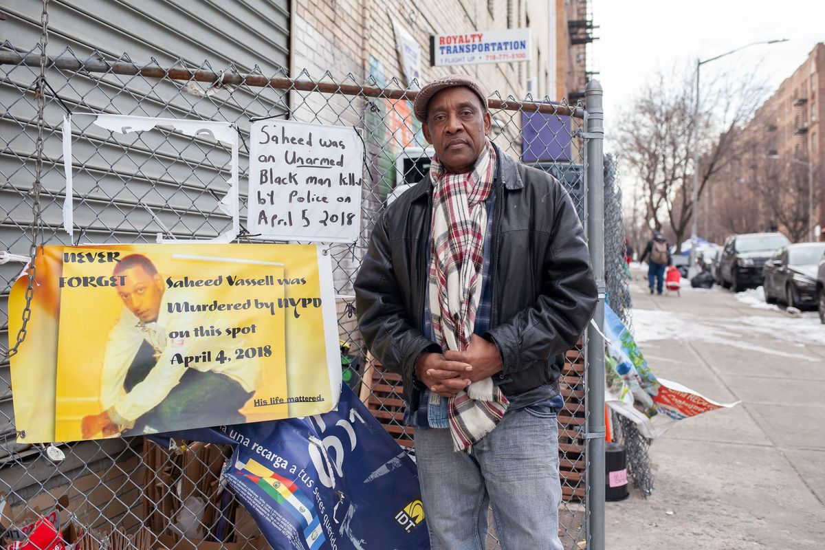 Eric Vassell stands at the intersection of Montgomery Street and Utica Avenue in Crown Heights, where his 34-year-old mentally-ill son, Saheed Vassell, was fatally shot by NYPD officers in April 2018. Photo credit: Ben Fractenberg/THE CITY