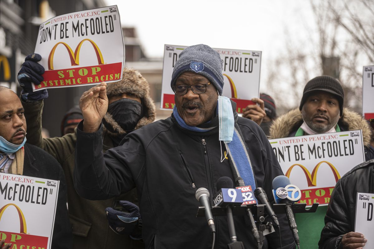 McDonald's franchise owner/operator James Byrd speaks at a news conference outside the restaurant chain's global headquarters in the West Loop on Monday, Feb. 22, 2021.