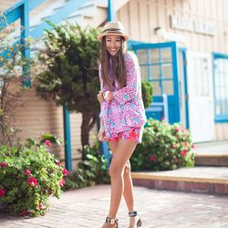 """Aimee of <a href=""""http://songofstyle.blogspot.com/"""">Song of Style</a> is wearing a <a href=""""http://piperlime.gap.com/browse/product.do?pid=568811022&tid=plaff4441350&ap=2&siteID=plafcid105"""">Roberta Roller Rabbit </a>printed top, <a href=""""http://www.saksfi"""