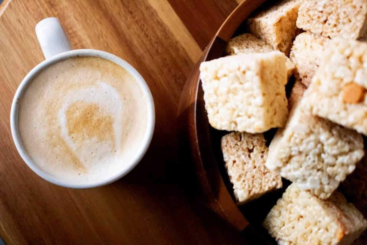A latte with Rice Krispies treats
