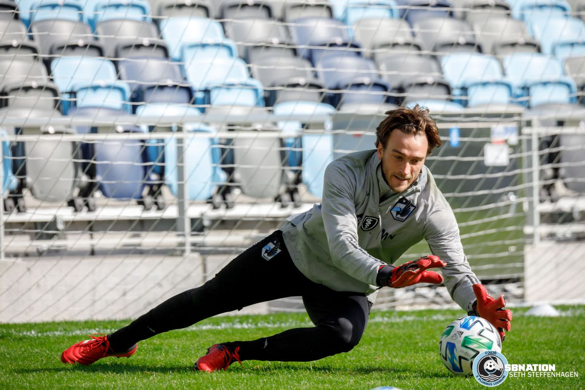 March 10, 2020 - Saint Paul, Minnesota, United States - Minnesota United goalkeeper Tyler Miller (1) leaps for the ball during the Loon's first team practice at Allianz Field.