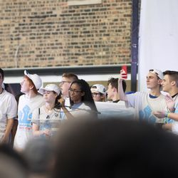 Students from Marjory Stoneman Douglas High School of Parkland, Florida stand onstage at St. Sabina Church. | Colin Boyle/Chicago Sun-Times