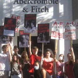 Teens Turning Green at an A&F protest in San Francisco
