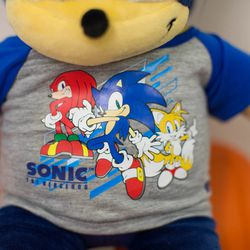 When Sonic gets extra lonely, though, he can at least wear this T-shirt with his best pals on it. (Sadly, there's no Knuckles plush at Build-a-Bear yet.)