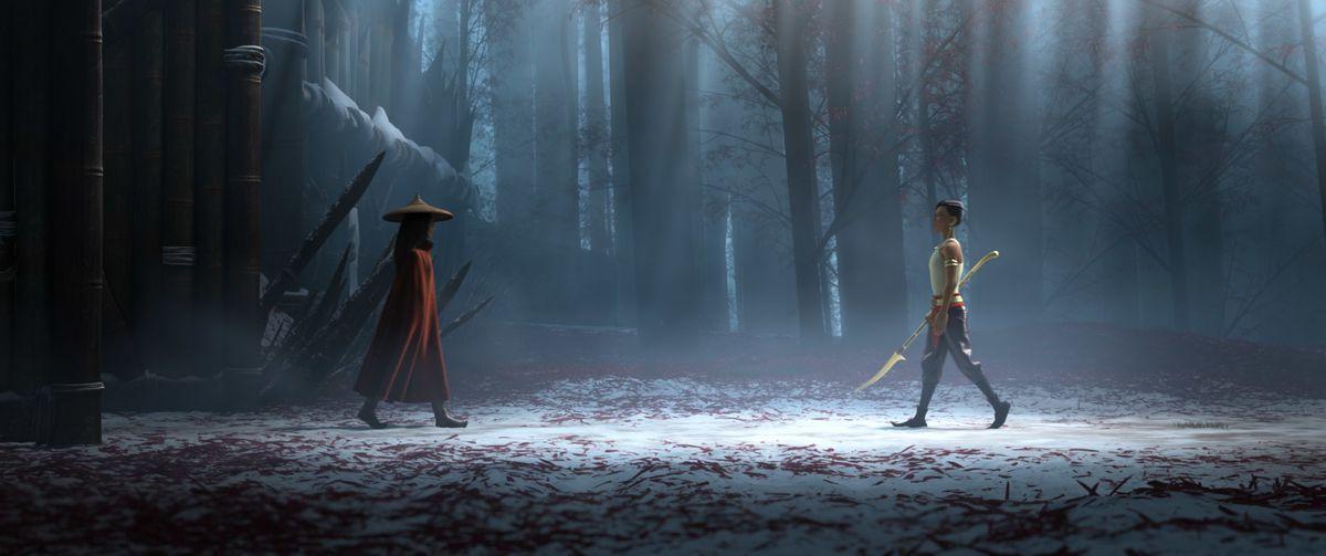 raya and namaari walking towards each other