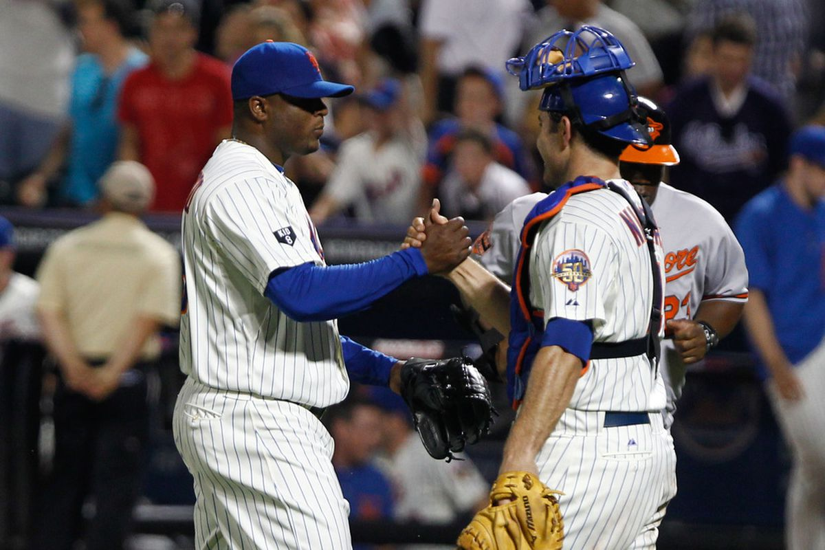 June 20, 2012; Flushing, NY, USA; New York Mets relief pitcher Frank Francisco (48) is congratulated by catcher Mike Nickeas (4) after beating the Baltimore Orioles 4-3 at Citi Field. Mets won 4-3. Mandatory Credit: Debby Wong-US PRESSWIRE
