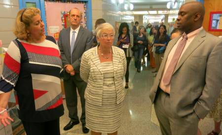 Chancellor Carmen Fariña on a tour of Manhattan's P.S. 5 in June with Principal Wanda Soto and Deputy Mayor Richard Buery.