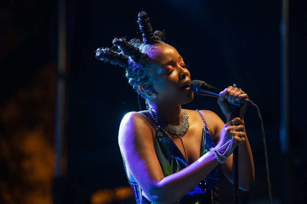 Jamila Woods performs at the Blue Stage at Pitchfork Music fFestival at Union Park, Saturday, Sept. 11, 2021.