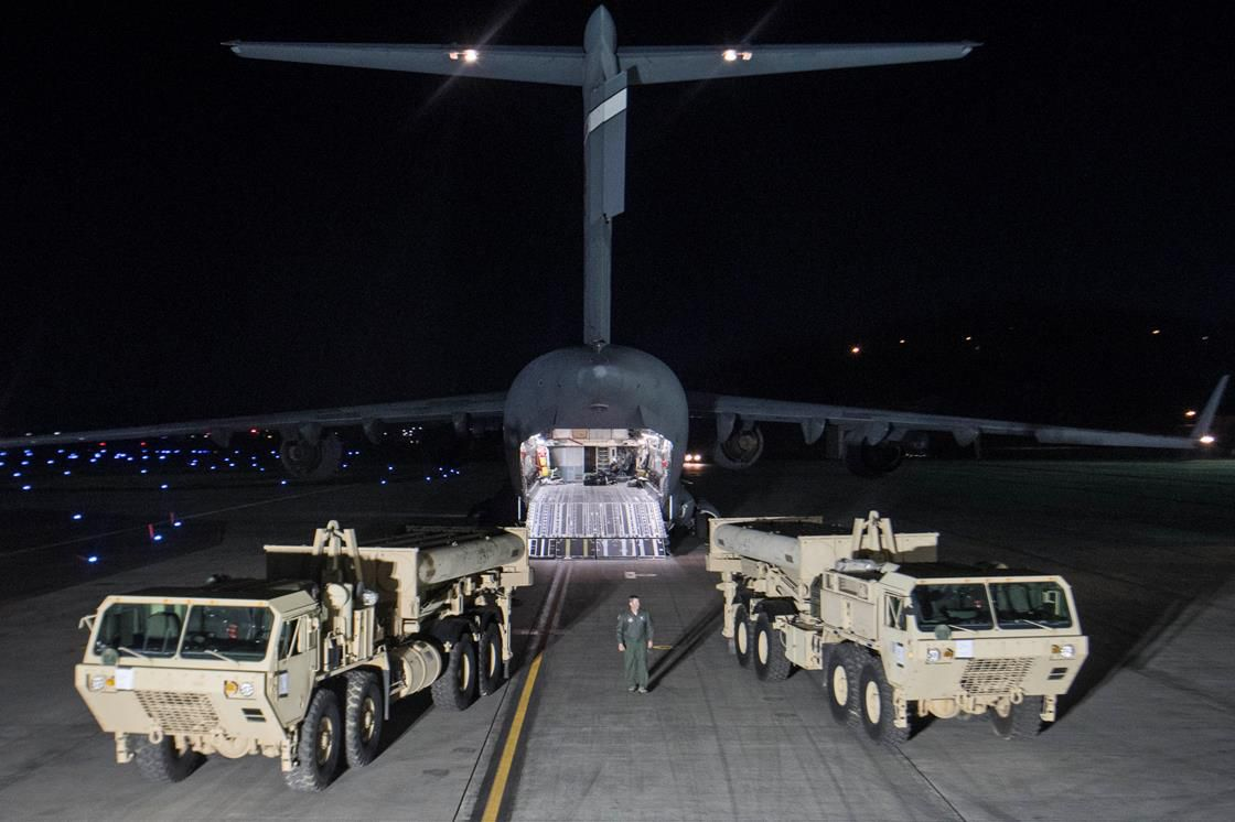 Part for the Terminal High Altitude Area Defense (THAAD) missile defense system arrive at the Osan base, South Korea
