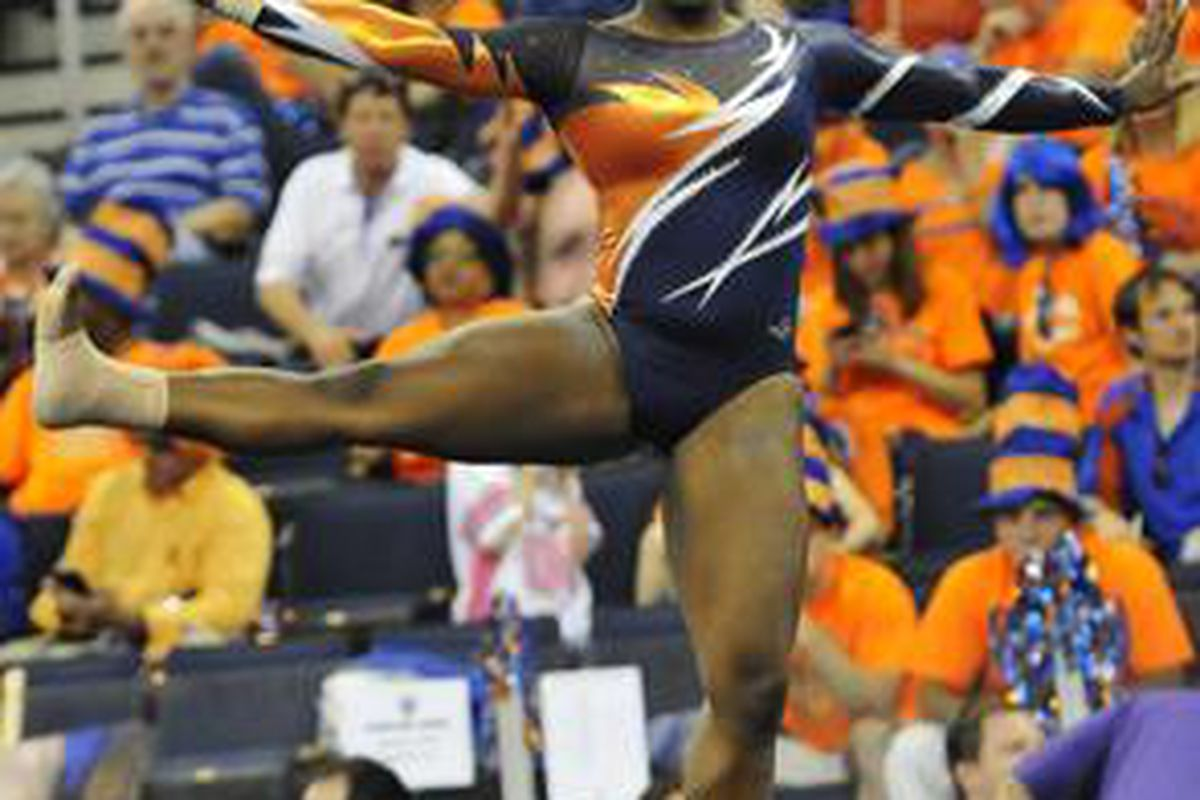 """All-SEC Gymnast <a href=""""http://www.auburntigers.com/sports/w-gym/spec-rel/032612aad.html"""">Bri Guy</a> will be competing in the NCAA South Regionals Saturday in the Auburn Arena."""