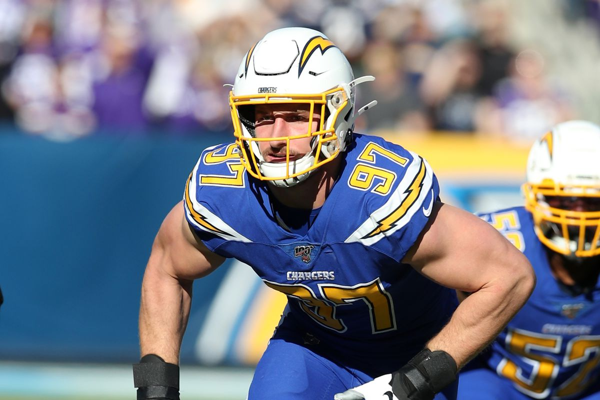 Joey Bosa of the Los Angeles Chargers in action during the game against the Minnesota Vikings at Dignity Health Sports Park on December 15, 2019 in Carson, California.