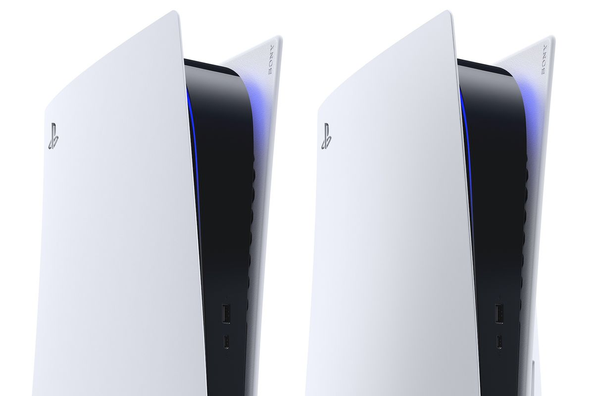 A render of the PlayStation 5 and the PS5 Digital Edition, cropped to focus on the top of the consoles.