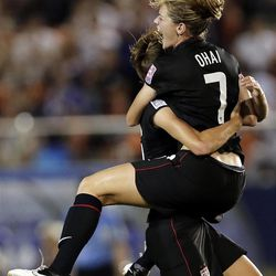 Kealia Ohai (7) of the United States celebrates after scoring a goal against Germany during their final match of U20 women's World Cup final in Tokyo, Saturday, Sept. 8, 2012. (AP Photo/Itsuo Inouye)