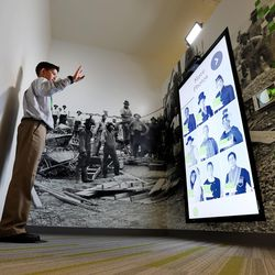 Eric Riddle tries out one of the photo stations as The Church of Jesus Christ of Latter-day Saints and the Family History Library introduce a new 10,139-square-foot, interactive discovery experience in Salt Lake City on Tuesday, Feb. 7, 2017.