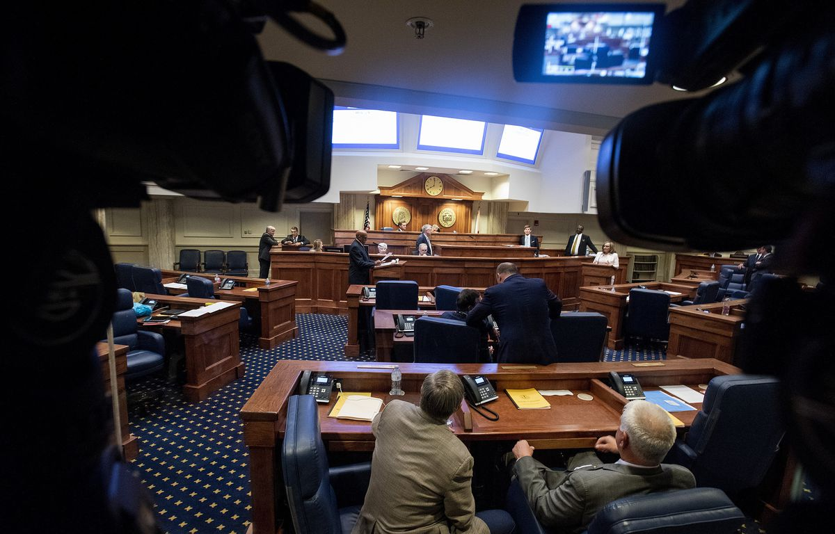 Lawmakers debate a ban on nearly all abortions in the senate chamber in the Alabama State House in Montgomery, Ala., on Tuesday, May 14, 2019. The legislation would make performing an abortion a felony at any stage of pregnancy with almost no exceptions.