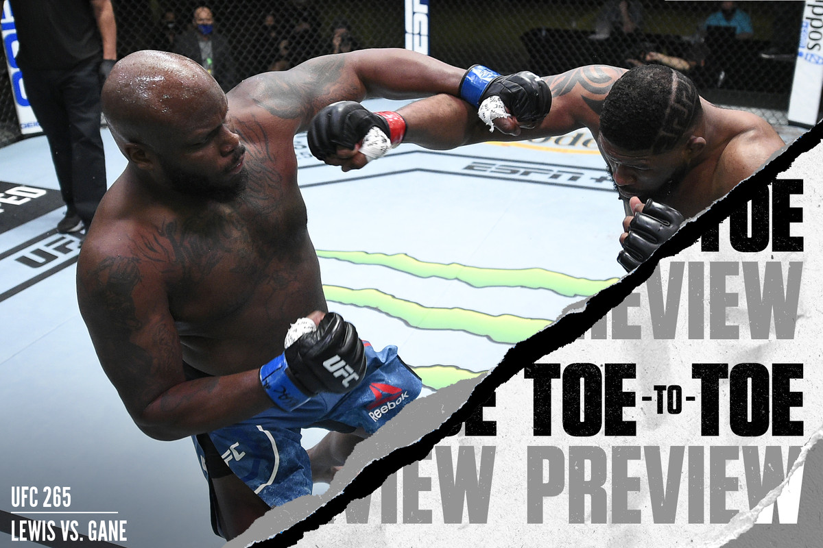 Derrick Lewis trades punches with Curtis Blaydes at UFC Fight Night in Vegas.