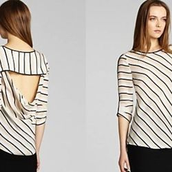 """Stripes are the most appropriate choice for a night in Paris-in-Chicago. This version is more sexy than preppy. $208 at <a href=""""http://www.bcbg.com/Maya-Long-Sleeve-Silk-Top-With-Open-Back/VNW1P509-J69,default,pd.html?dwvar_VNW1P509-J69_color=J69&cgid=cl"""