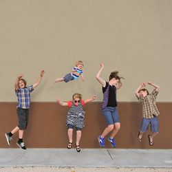 """Alan Lawrence photographed his son William in a series titled """"Wil Can Fly"""" on his blog, <a href=""""http://thatdadblog.com/"""">thatdadblog.com</a> From left: Zac, William, Ali, Gracie and Nikolas Lawrence."""