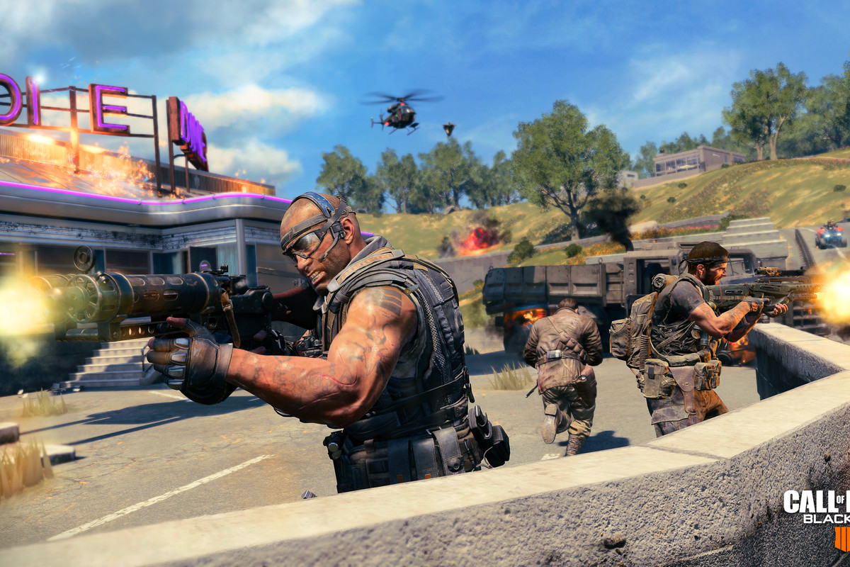 Call of Duty: Black Ops 4 - soldiers behind barricade in Blackout mode