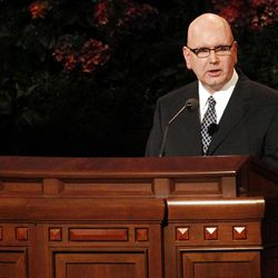 David S. Baxter speaks during the 182nd Annual General Conference for The Church of Jesus Christ of Latter-day Saints at the LDS Conference Center in Salt Lake City on Saturday, March 31, 2012.