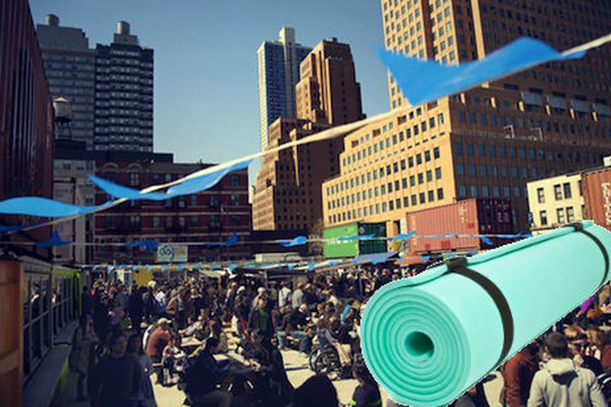 """Dekalb Market image via <a href=""""http://brokelyn.com/get-your-om-on-for-free-with-pop-up-yoga-at-dekalb-market/"""">Brokelyn</a>, yoga mat via <a href=""""http://www.shutterstock.com/cat.mhtml?lang=en&amp;search_source=search_form&amp;version=llv1&amp;any"""
