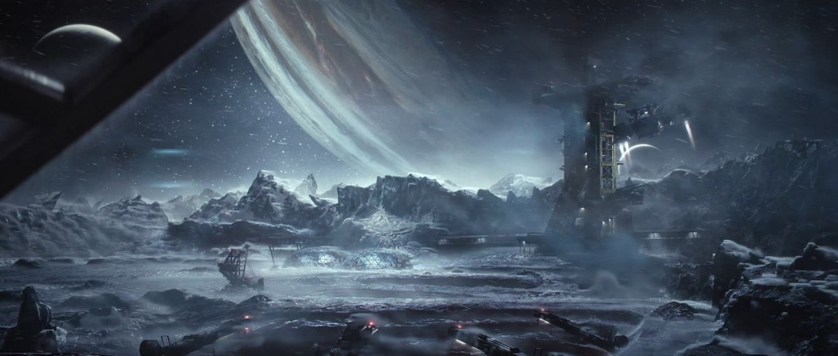 A shot of the moon Callisto's surface from The Callisto Protocol's cinematic trailer.