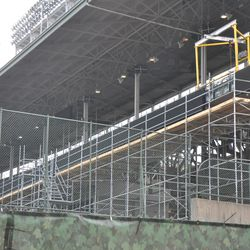 Scaffolding still up down the third-base line -