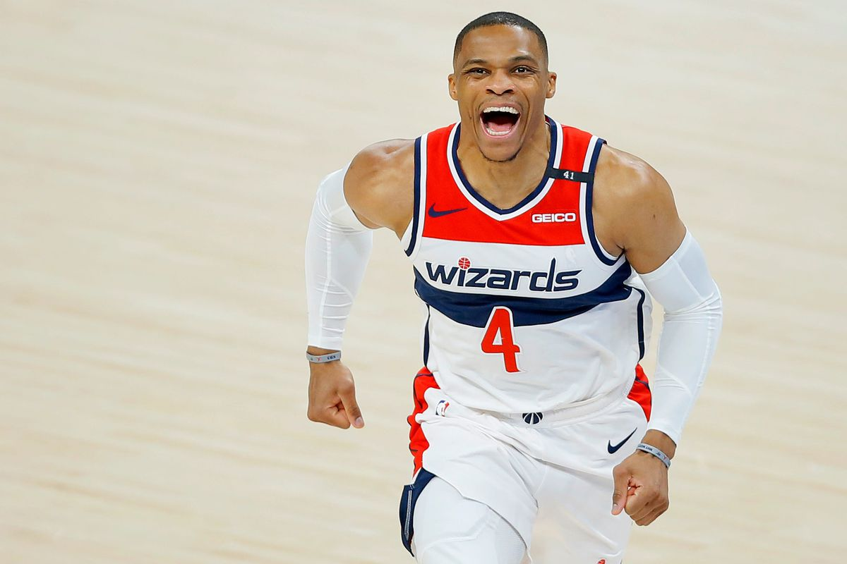 Washington's Russell Westbrook shouts before an April 23 game against the Thunder.