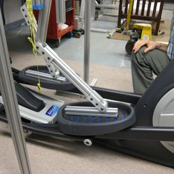 Look at how the foot and the ankle of the simulated man bends as the elliptical trainer moves.