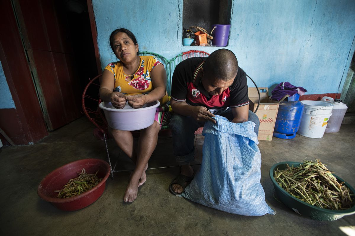 Alvina Jeronimo Perez and her husband Anibal Garcia peel beans that they grew themselves to cook an early lunch at their home in Tizamarte, Guatemala, Wednesday, Dec. 9, 2020.