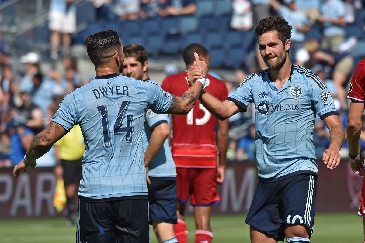 Dwyer and Feilhaber celebrate after a goal in last week's win against FC Dallas.