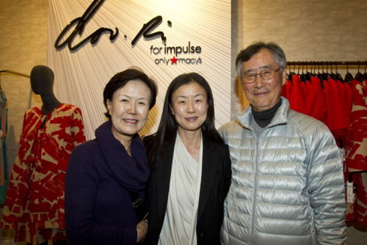 Doo-ri Chung with her parents at her Macy's Impulse collection launch, via Getty