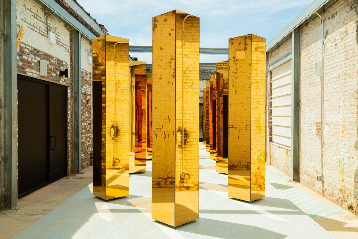 Gold columns in courtyard
