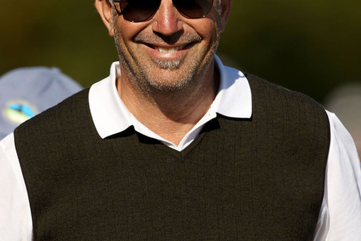PEBBLE BEACH CA:  Actor Kevin Costner stands on the side of the 17th green during the third round of the AT&T Pebble Beach National Pro-Am at the Pebble Beach Golf Links in Pebble Beach California  (Photo by Ezra Shaw/Getty Images)