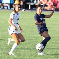 UConn's Jaydah Bedoya #13 during the New Hampshire Wildcats vs the UConn Huskies exhibition women's college soccer game at Morrone Stadium at Rizza Performance Center in Storrs, CT, on Saturday August 14, 2021.